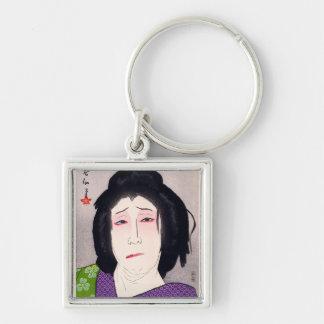 Arte japonés de la mujer del woodprint oriental fr llavero personalizado
