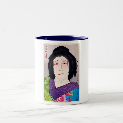Arte japonés de la mujer del woodprint oriental fr taza dos tonos