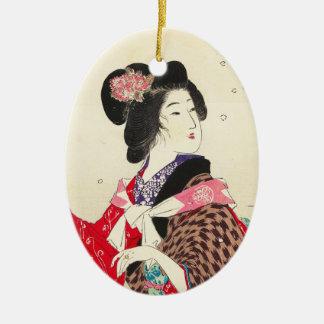 Arte japonés de la señora de la mujer de Suzuki Adorno Navideño Ovalado De Cerámica