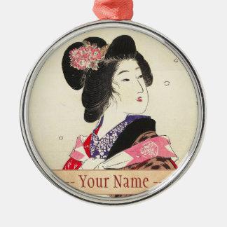 Arte japonés de la señora de la mujer de Suzuki Adorno Navideño Redondo De Metal