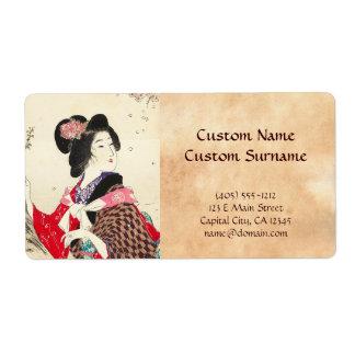 Arte japonés de la señora de la mujer de Suzuki Ka Etiqueta De Envío
