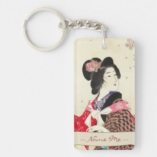 Arte japonés de la señora de la mujer de Suzuki Ka Llavero Rectangular Acrílico A Doble Cara