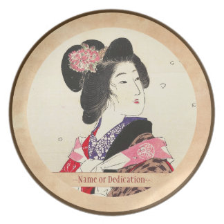 Arte japonés de la señora de la mujer de Suzuki Ka Platos Para Fiestas