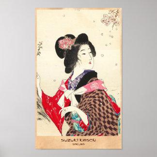 Arte japonés de la señora de la mujer de Suzuki Ka Póster