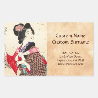 Arte japonés de la señora de la mujer de Suzuki Pegatina Rectangular