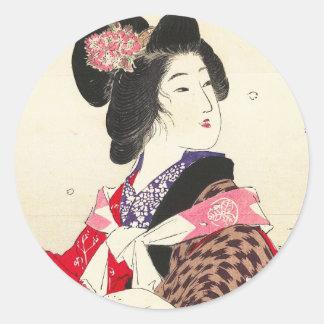 Arte japonés de la señora de la mujer de Suzuki Pegatina Redonda