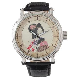 Arte japonés de la señora de la mujer de Suzuki Relojes De Pulsera