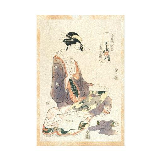 Arte japonés de la señora del vintage del geisha c impresión en lona estirada