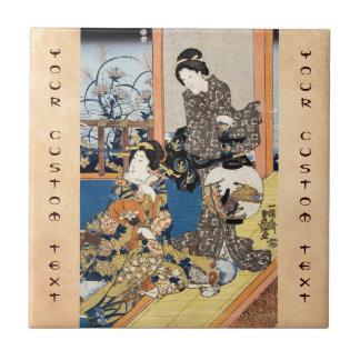 Arte japonés de los geishas del ukiyo-e dos del vi tejas