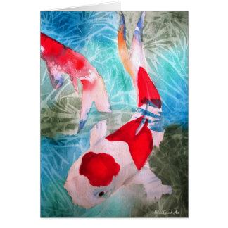 Arte japonés de los pescados de la acuarela de Koh Felicitación