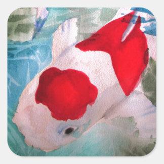 Arte japonés de los pescados de la acuarela de pegatina cuadrada