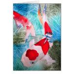 Arte japonés de los pescados de la acuarela de tarjeta de felicitación