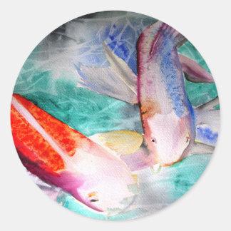 Arte japonés de los pescados del watercolour de pegatina redonda