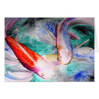 Arte japonés de los pescados del watercolour de tarjeton