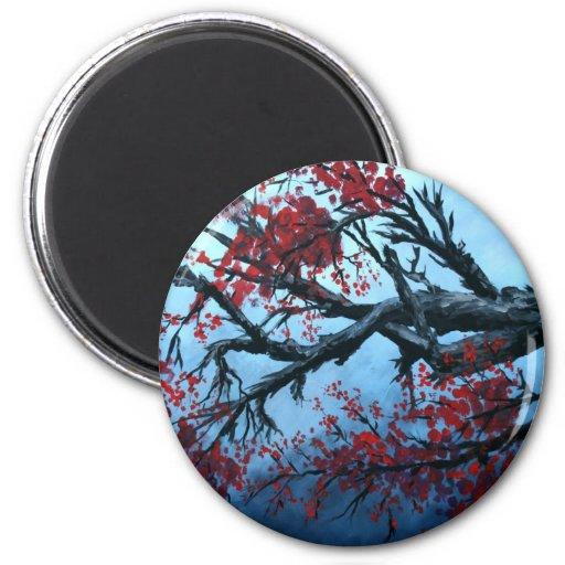 arte japonés de oriental del árbol de la flor de l imán redondo 5 cm
