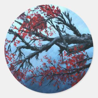 arte japonés de oriental del árbol de la flor de l pegatinas redondas