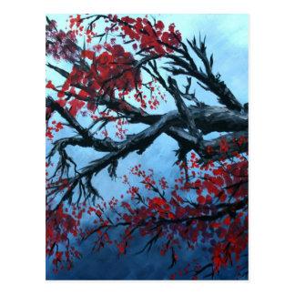 arte japonés de oriental del árbol de la flor de l postal