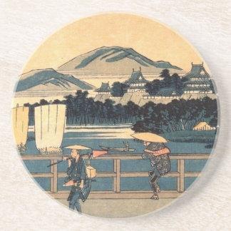 Arte japonés de Woodblock del vintage de la traves Posavasos Manualidades