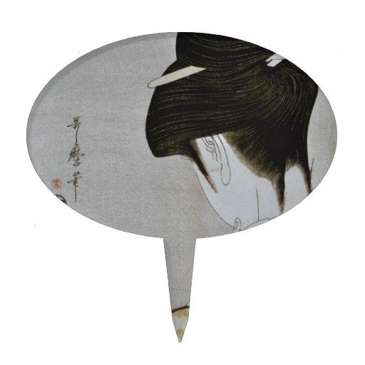 Arte japonés del chica de geisha del vintage decoración para tarta