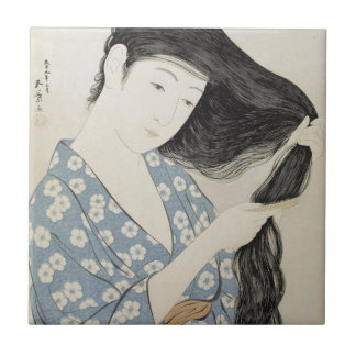 Arte japonés del chica de geisha del vintage teja cerámica