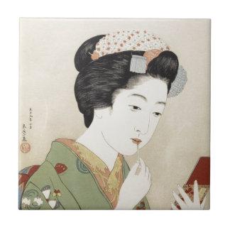 Arte japonés del chica de geisha del vintage azulejo ceramica