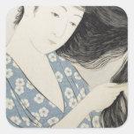 Arte japonés del chica de geisha del vintage calcomania cuadradas