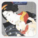 Arte japonés del chica de geisha del vintage pegatinas cuadradas personalizadas