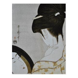 Arte japonés del chica de geisha del vintage postal