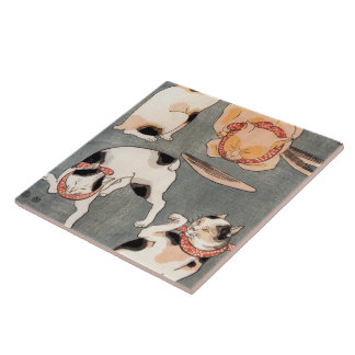 Arte japonés del gato del vintage azulejos ceramicos