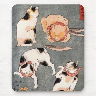 Arte japonés del gato del vintage mouse pad