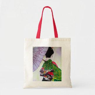 Arte japonés del geisha con el kimono y el bolsa