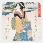 Arte japonés del geisha de la voluta del ukiyo-e d calcomanía cuadradas personalizadas