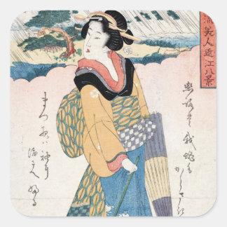 Arte japonés del geisha de la voluta del ukiyo-e pegatina cuadrada
