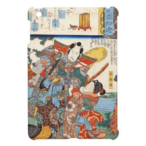 Arte japonés del geisha y del samurai del ukiyo-e  iPad mini carcasas