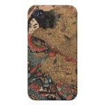 Arte japonés del guerrero circa 1800s iPhone 4 protectores