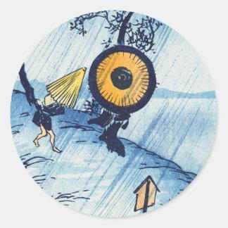 Arte japonés del paisaje del temporal de lluvia de pegatina redonda