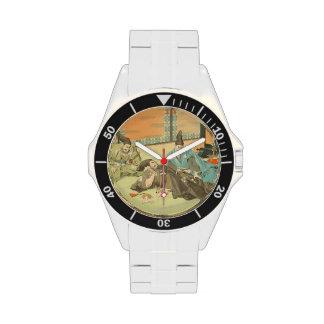 Arte japonés del samurai del vintage de la pacienc relojes de mano