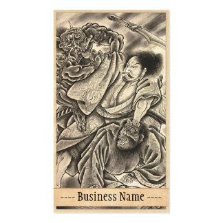 Arte japonés del tatuaje del demonio del vintage c plantilla de tarjeta de negocio