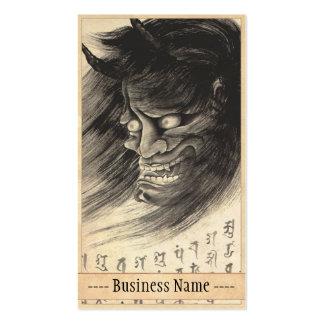 Arte japonés del tatuaje del demonio del vintage c plantillas de tarjetas de visita