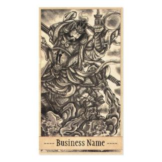Arte japonés del tatuaje del demonio del vintage c tarjeta personal