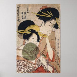Arte japonés del vintage de dos geishas poster