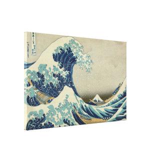 Arte japonés del vintage, la gran onda por Hokusai Impresión En Lona Estirada
