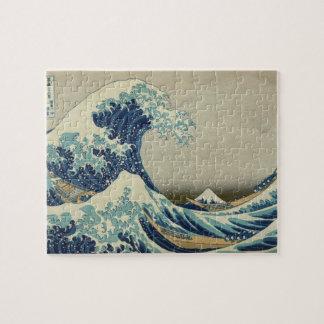 Arte japonés del vintage, la gran onda por Hokusai Puzzle