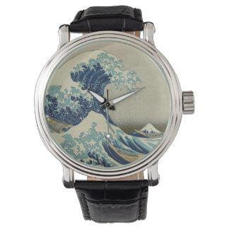 Arte japonés del vintage, la gran onda por Hokusai Reloj
