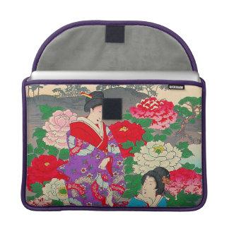 Arte japonés - dos mujeres que hablan en rosaleda fundas para macbooks