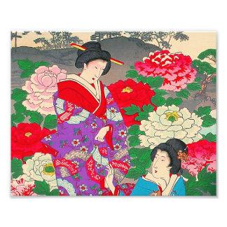 Arte japonés - dos mujeres que hablan en rosaleda impresiones fotográficas