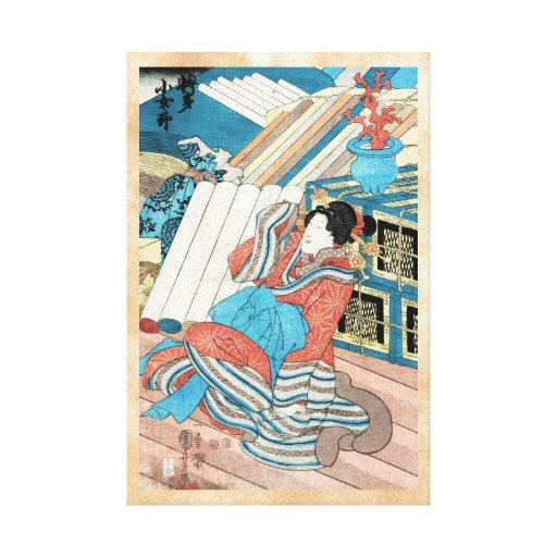 Arte japonés fresco de la señora del geisha del impresiones en lienzo estiradas