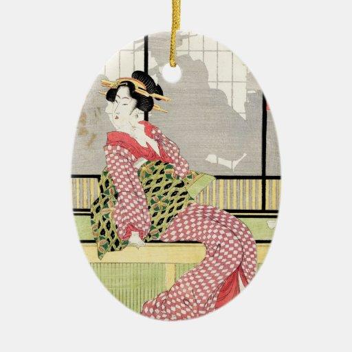 Arte japonés fresco de la voluta del geisha del adorno ovalado de cerámica