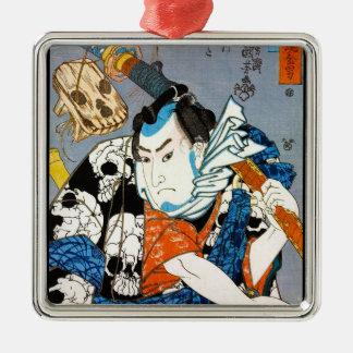 Arte japonés fresco del cráneo del samurai del ornamento para arbol de navidad