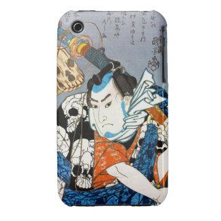 Arte japonés fresco del cráneo del samurai del funda bareyly there para iPhone 3 de Case-Mate